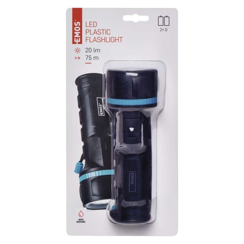 LED TASKULAMP TORCH RUBBER 3 LED 2×D
