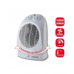 Electrical fan heater 2kW with thermostat and automatic rotation. White