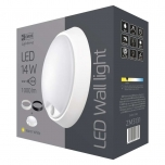 LED- LAE,SEINAVALGUSTI IP54 14W WW PIR