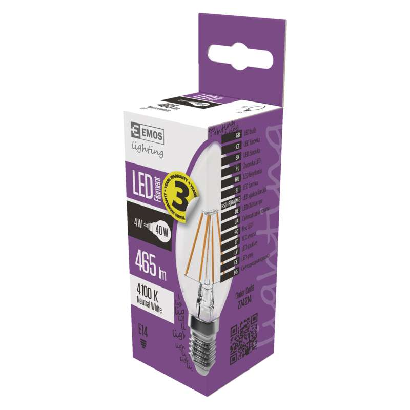 LED PIRN FLM CANDLE A++ 4W E14 NW