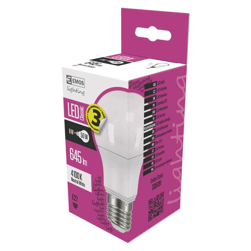 LED PIRN CLS A60 8W E27 NW