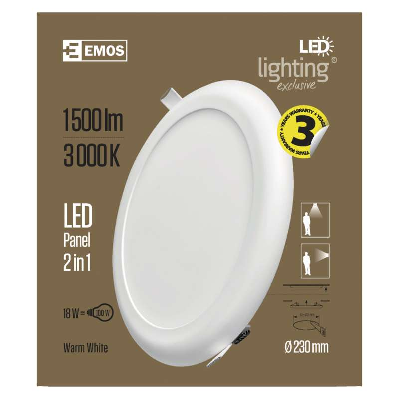 LED LAEPANEEL ÜMAR 230MM, VALGE 18W 2IN1 WW W